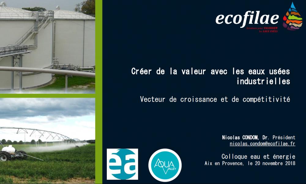 """Colloque Eau et Energie : """"Les eaux industrielles : sources de valeur, d'innovation et de compétitivité"""""""
